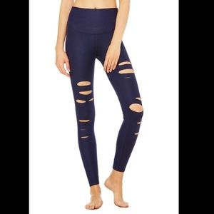 Alo High Waisted Ripped Warrior Leggings  Navy S